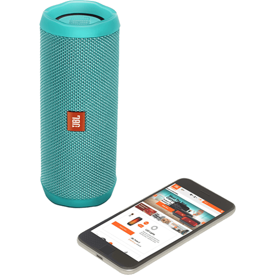 Front view of Teal JBL Flip 4 Speaker with mobile phone