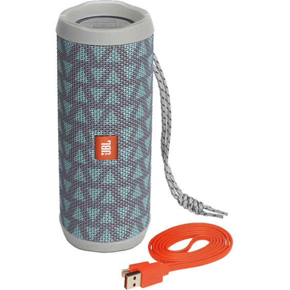 Front view of Teal/Gray JBL Flip 4 Speaker with cable