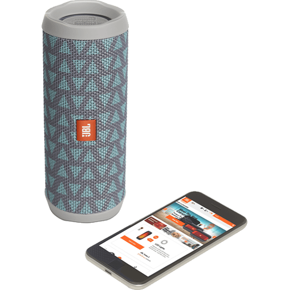 Front view of Teal/Gray JBL Flip 4 Speaker with mobile phone