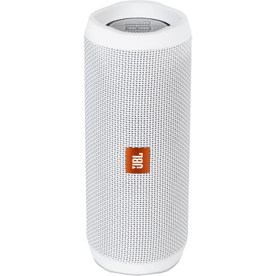 Front view of White JBL Flip 4 Speaker