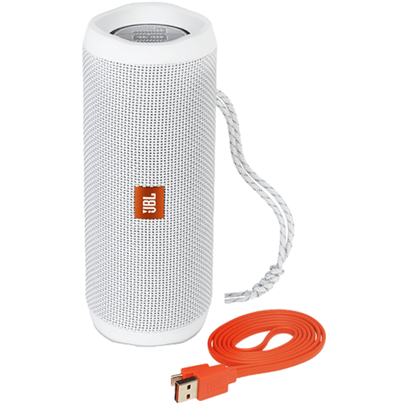 Front view of White JBL Flip 4 Speaker with cable