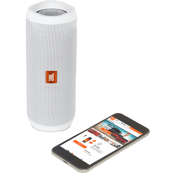Front view of White JBL Flip 4 Speaker with mobile phone