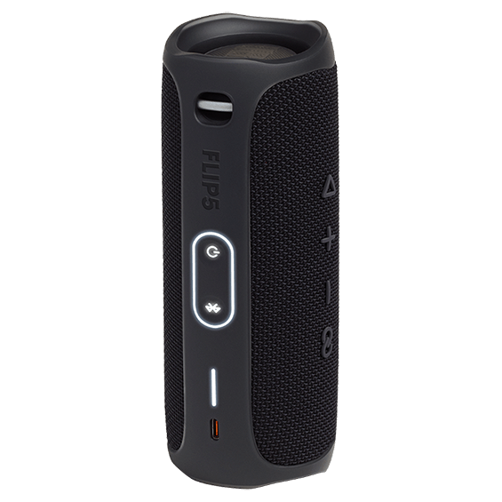 Black JBL Flip 5 product image - back quarter view