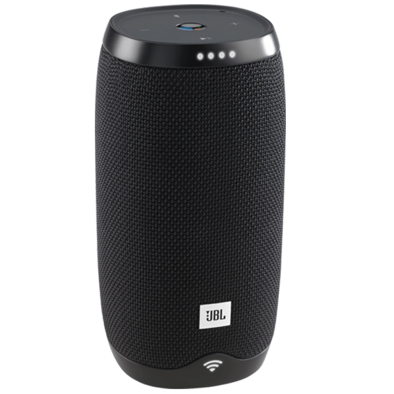 Front left angle view of JBL Link 10 Voice-Activated Speaker - Black