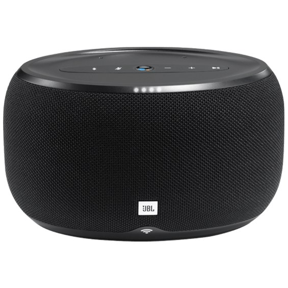 Front view of JBL Link 300 Voice-Activated Speaker - Black