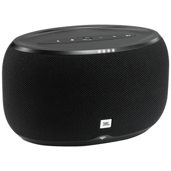 Front left angle view of JBL Link 300 Voice-Activated Speaker - Black