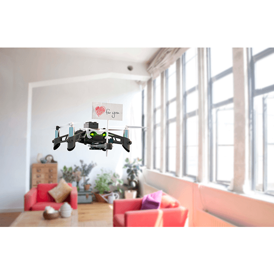 View of Parrot Mambo Mini Drone flying indoors