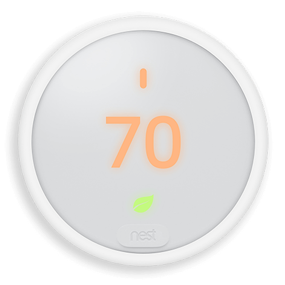 Front view of Nest Thermostat E showing heat cycle