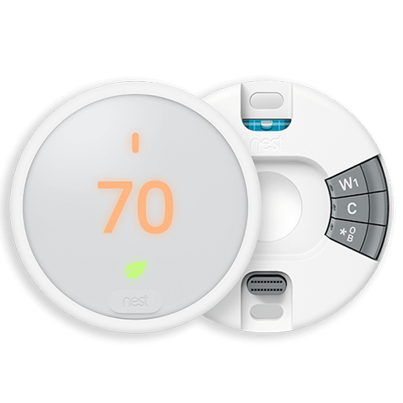 Front view of Nest Thermostat E with cover off