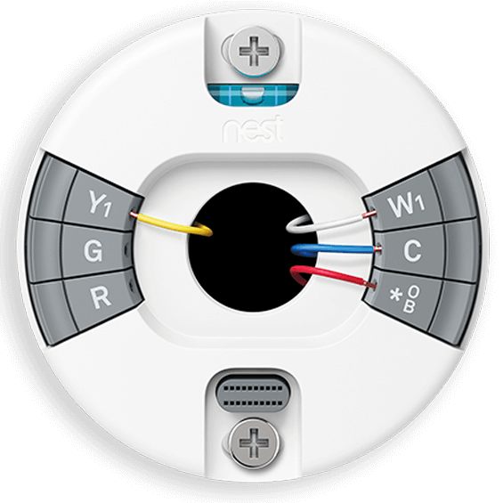Front view of Nest Thermostat E showing wiring