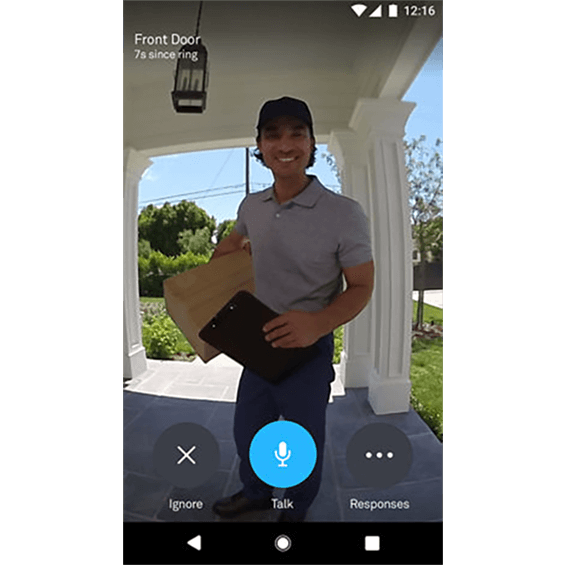 Lifestyle view of the Nest Hello Video Doorbell app showing a man at the front door