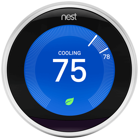Front view of the Nest Learning Thermostat in cooling mode