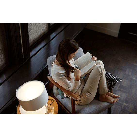 Reading under a Philips Hue light.
