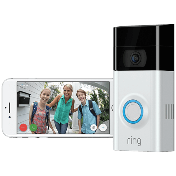 Front left angle view of Ring Video Doorbell 2 showing phone app