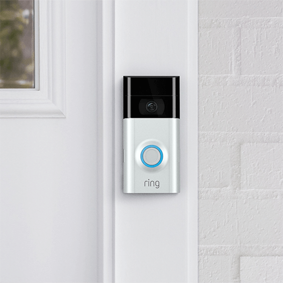 Front view of mounted Ring Video Doorbell 2