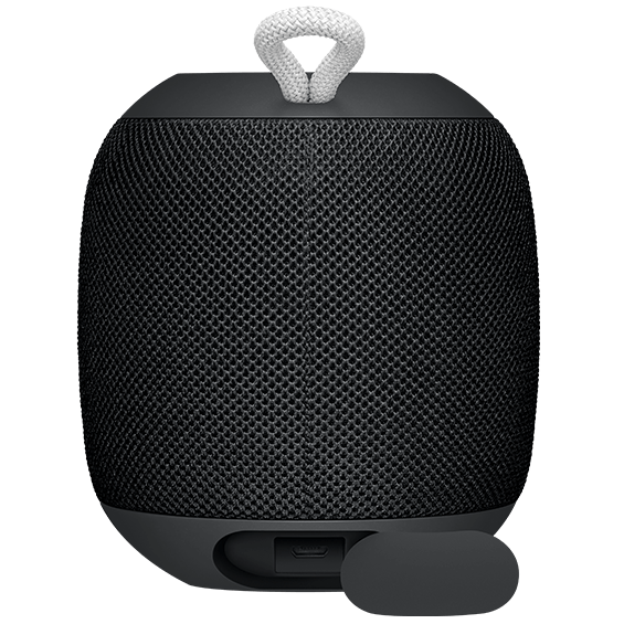 Rear view image of the UE Wonderboom in black with charging slot open