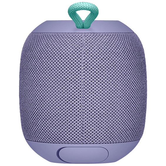 Rear view image of the UE Wonderboom in lilac with charging slot open