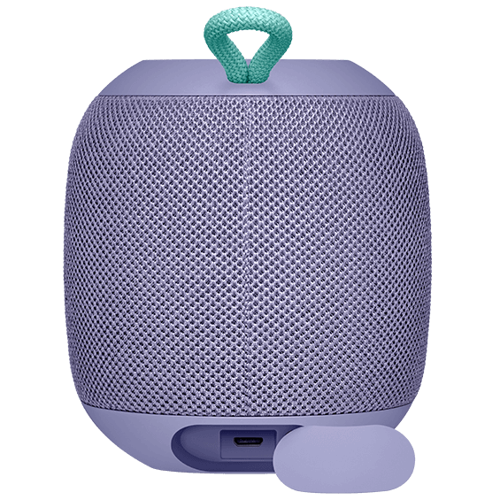 Rear view image of the UE Wonderboom in lilac with charging slot closed