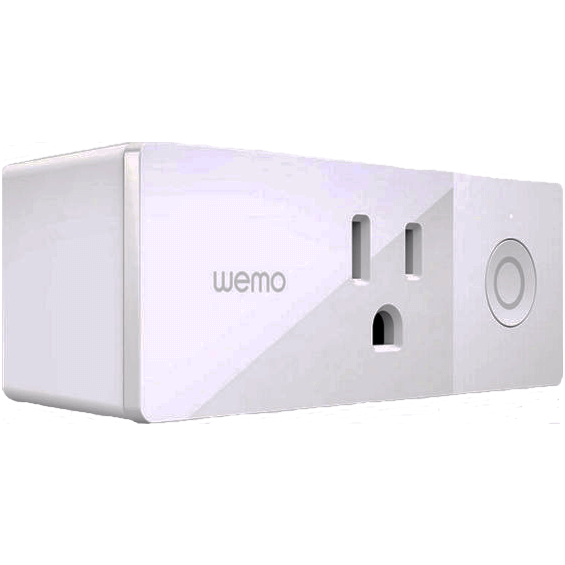 Vista de ángulo frontal de enchufe inteligente Belkin Wemo Mini