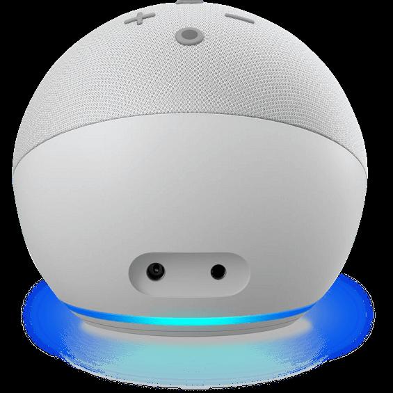 Vista del ángulo posterior del Amazon Echo Dot 4.ª gen. en glacier white