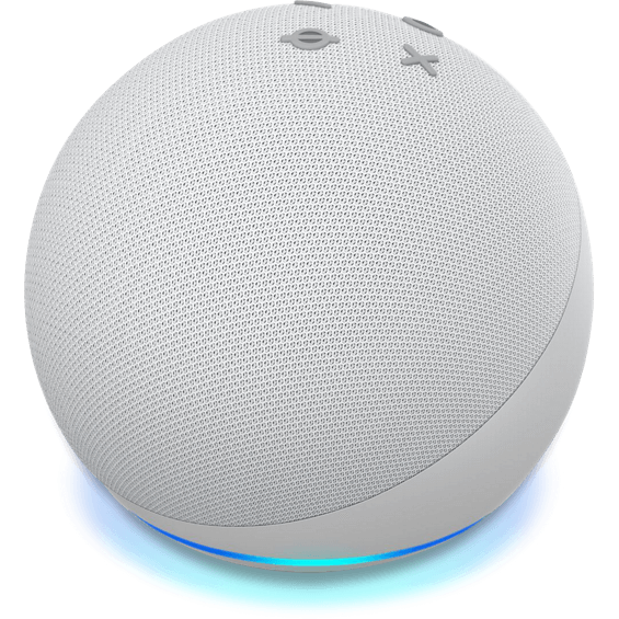Front view of Amazon Echo Dot Gen 4 device in glacier white