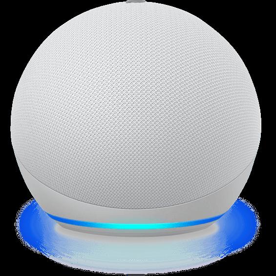Vista del ángulo superior del Amazon Echo Dot 4.ª gen. en glacier white