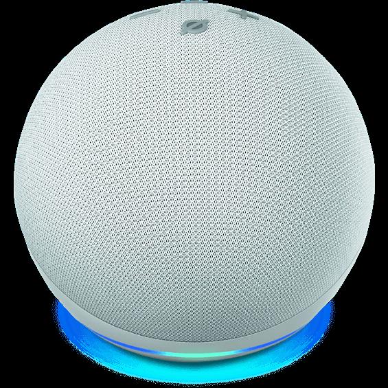 Vista lateraldel Amazon Echo Dot 4.ª gen. en glacier white