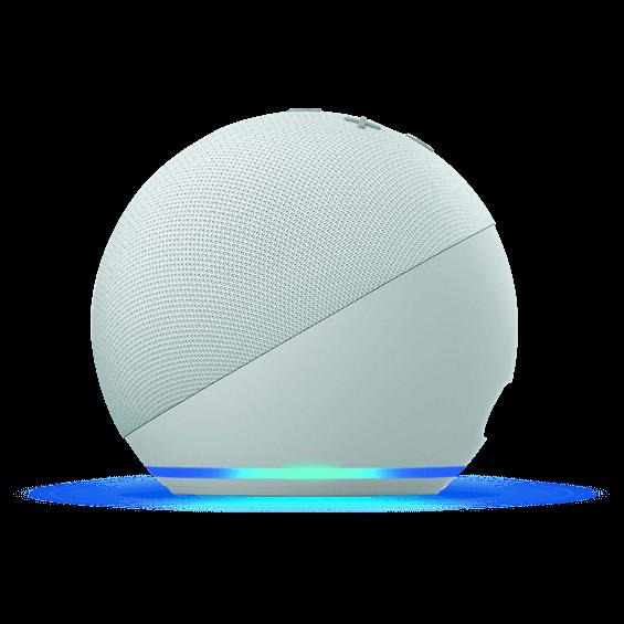 Vista superior del Amazon Echo Dot 4.ª gen. en glacier white