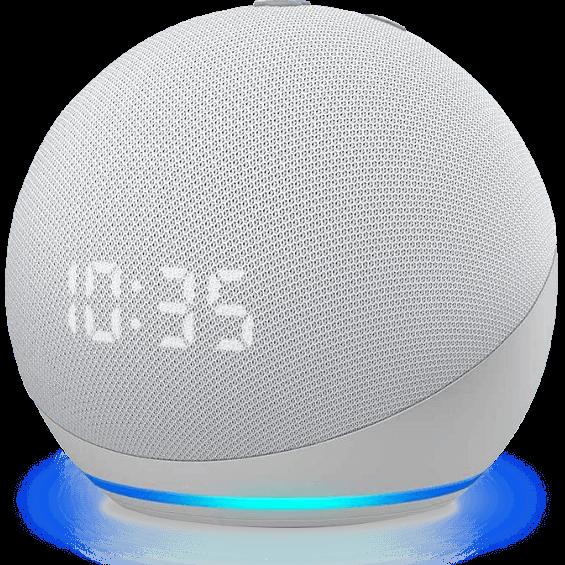 Vista frontal angular del Amazon Echo Dot 4.ª gen. con reloj en glacier white
