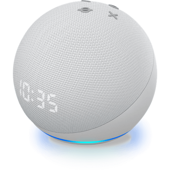 Side angle view of Amazon Echo Dot Gen 4 with clock device in glacier white