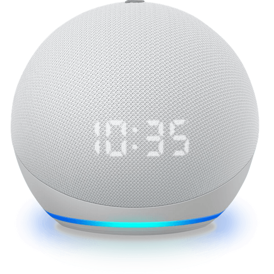 Front top view of Amazon Echo Dot Gen 4 with clock device in glacier white
