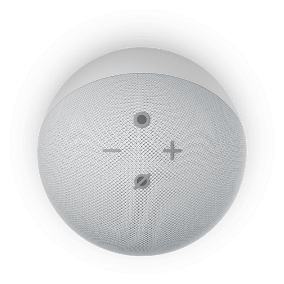 Top view of Amazon Echo Dot Gen 4 with clock device in glacier white