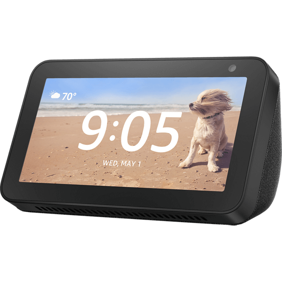 Front angle view of Amazon Echo Show 5 in charcoal