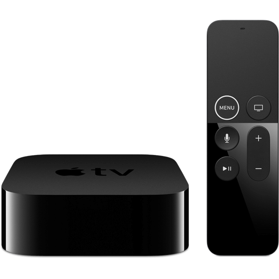 Front view of Apple TV 4K 64GB device and remote control
