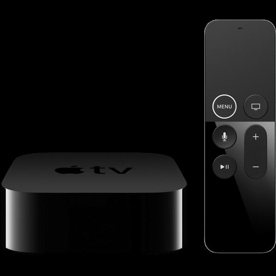 Vista frontal del dispositivo Apple TV 4K 64 GB y control remoto