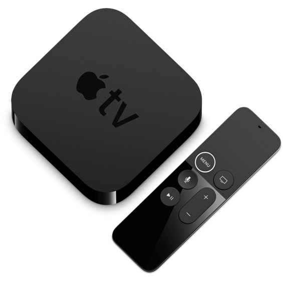 Top view of Apple TV 4K 64GB device and remote control