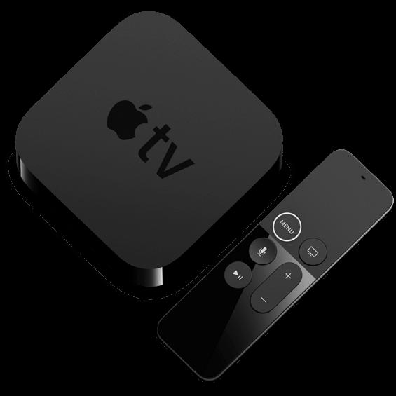 Vista superior del dispositivo Apple TV 4K 64 GB y control remoto