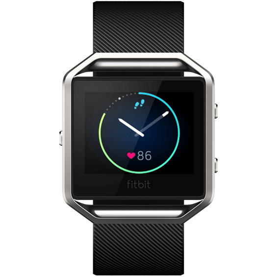 Front view of  Black Fitbit Blaze in size large