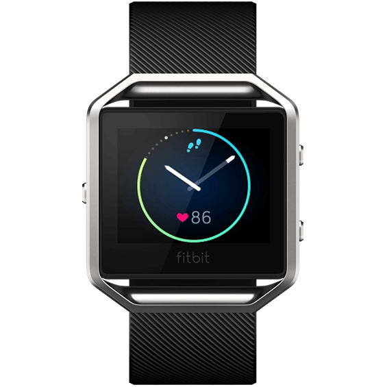 Front view of Black Fitbit Blaze in size small