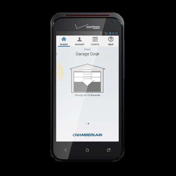 view of chamberlain myq garage mobile app