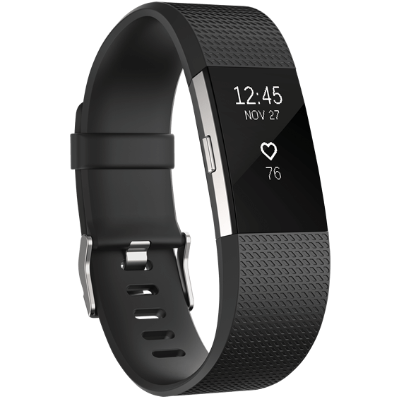 Black Fitbit Charge 2 Heart Rate and Fitness Wristband in size large