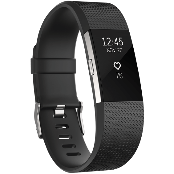 Black Fitbit Charge 2 Heart Rate and Fitness Wristband in size small