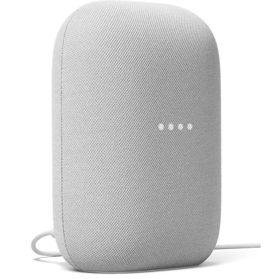 Front angle view of Google Nest Audio in chalk