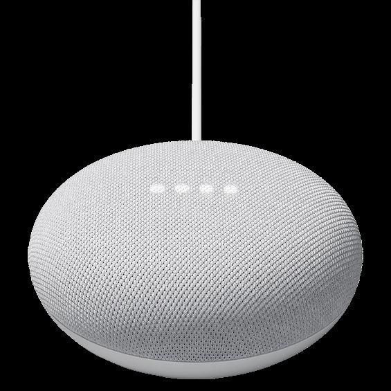 Vista angular del producto Google Nest Mini, tiza