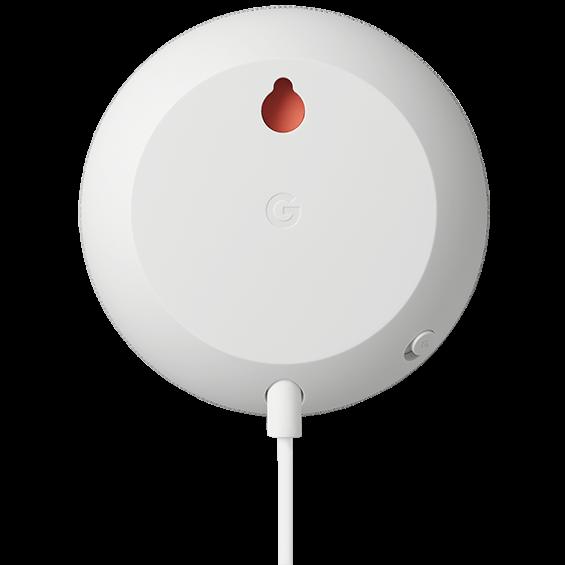 Vista trasera del producto Google Nest Mini, tiza