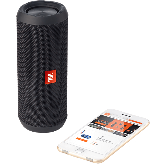 Front view of Black JBL Flip 3 Speaker with mobile phone