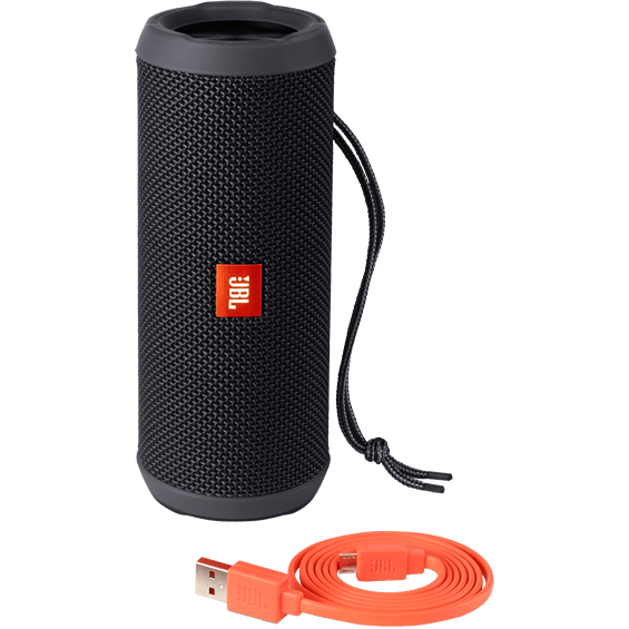 Front view of Black JBL Flip 3 Speaker with cable