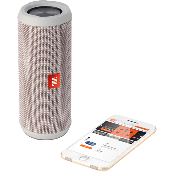 Front view of Gray JBL Flip 3 Speaker with mobile phone