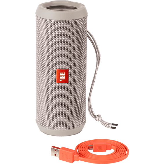 Front view of Gray JBL Flip 3 Speaker with cable