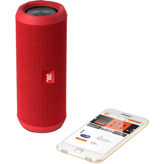 Front view of Red JBL Flip 3 Speaker with mobile phone